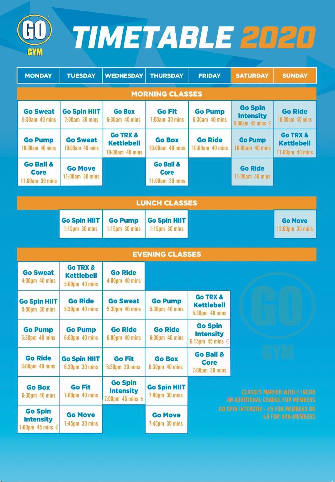 Timetable 2020